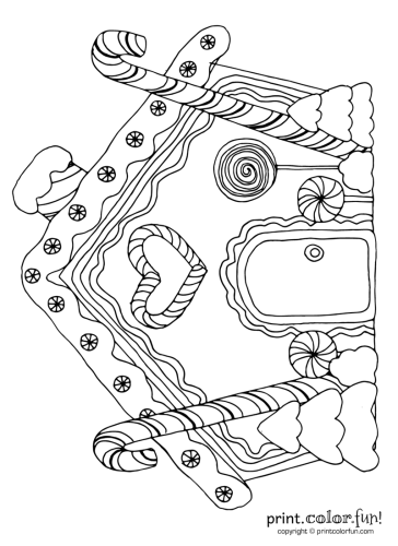 Gingerbread House With Candy Canes Candy Cane Coloring Page Coloring Pages Christmas Coloring Pages