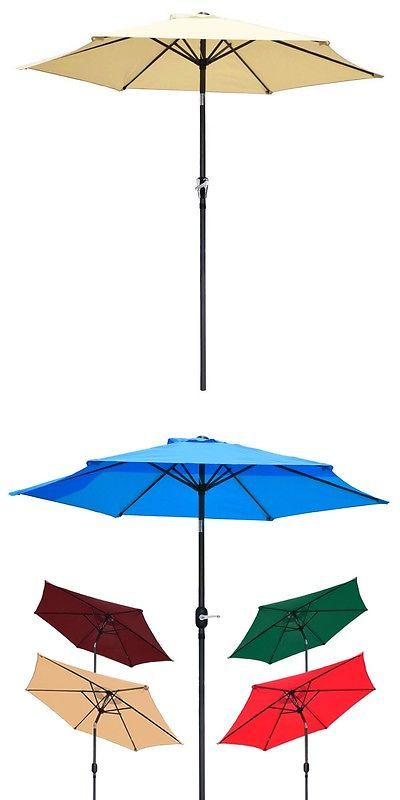 Umbrellas 180998: 8 Ft Patio Umbrella Aluminum Crank Tilt Deck Sunshade  Cover Outdoor Yard Beach