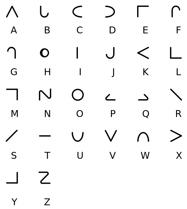 Moon Type Alphabet Code Alphabet Symbols Sign Language Alphabet
