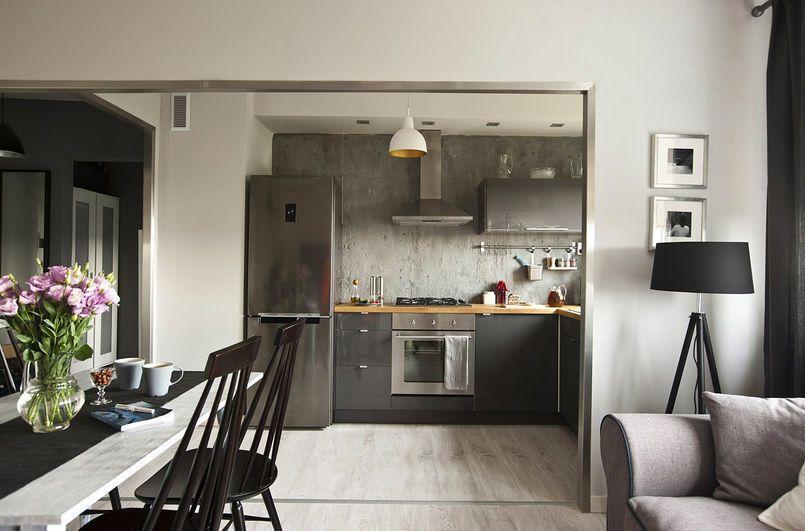 Kuchnia Otwarta Na Salon Kuchnia Styl Nowoczesny Aranzacja I Wystroj Wnetrz Concrete Interiors Home Decor Home
