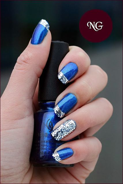 Getting Ready For Christmas , Blue and Silver nails