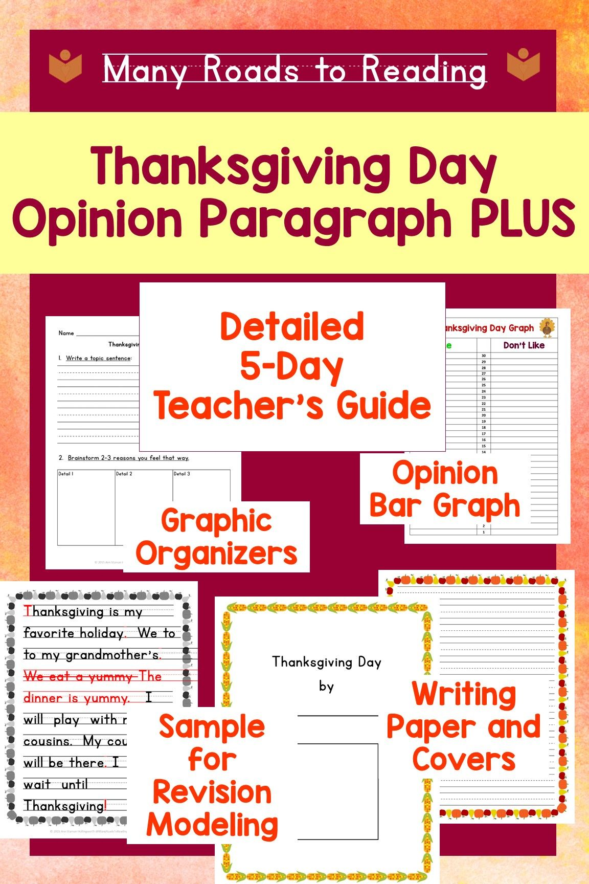 Thanksgiving Opinion Paragraph Writing Lesson Plan Grades