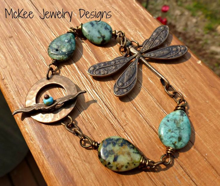 Dragonfly, metal pendant, chain and green turquoise gemstone bracelet.