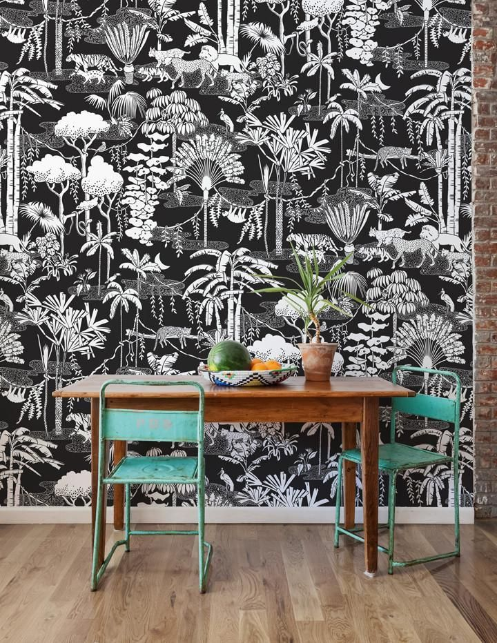 Jungle Dream Wallpaper in Contrast by Aimee Wilder Decor
