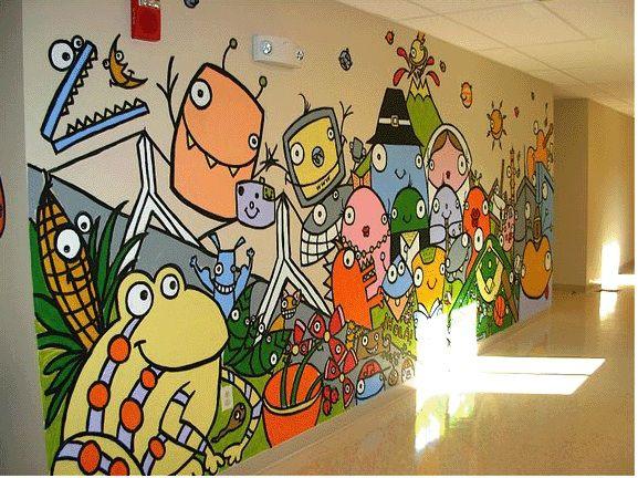 Classroom Mural Design : Bren bataclan created a mural in school hallway