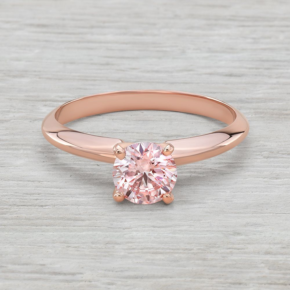 55ct Half Carat Pink Diamond Solitaire Engagement Ring In 14k Rose Gold For 2 182 Emerald Engagement Ring Rose Gold Pink Diamond Pink Diamond