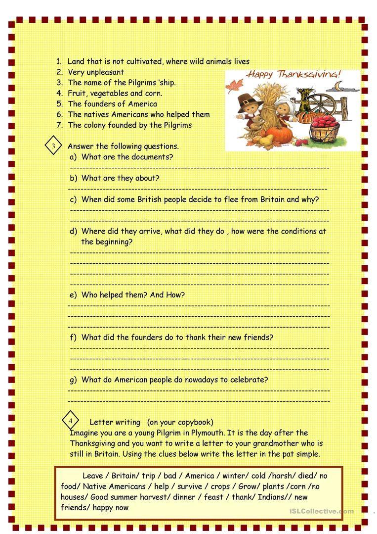 Thanksgiving Reading For Pre Intermediate Worksheet Free Esl Printable Worksheets Made By Teach Thanksgiving Readings Thanksgiving Thanksgiving Activities [ 1079 x 763 Pixel ]