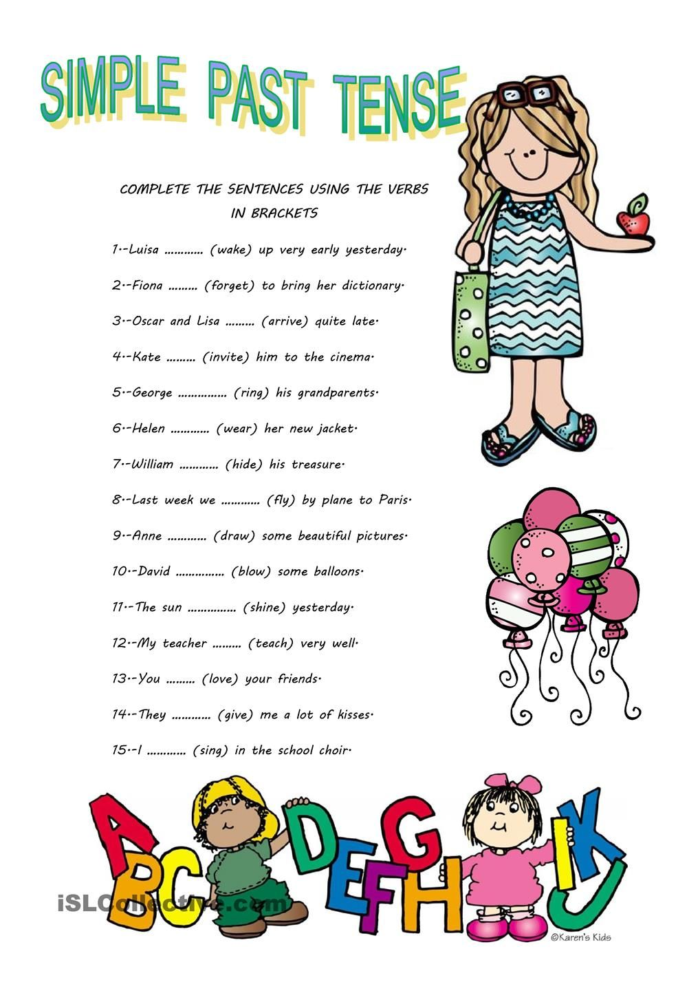SIMPLE PAST TENSE (With images) Simple past tense, Past
