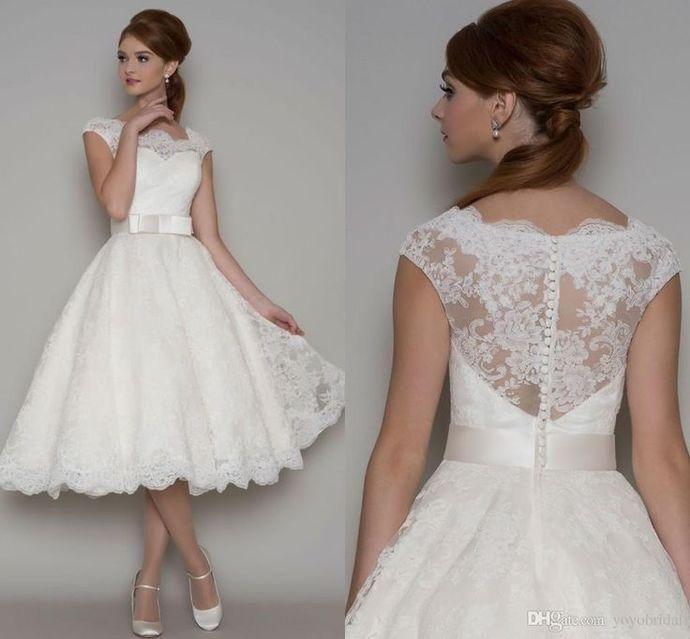 Fashion Vintage Wedding Dresses Prom Dresses Short Wedding Dress Vintage Short Lace Wedding Dress Wedding Dress Cap Sleeves