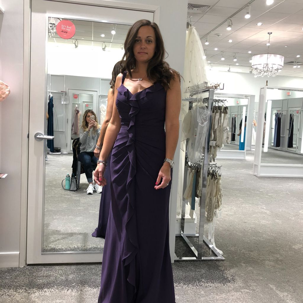 Long Ruched Bridesmaid Dress with Ruffles Davidus Bridal