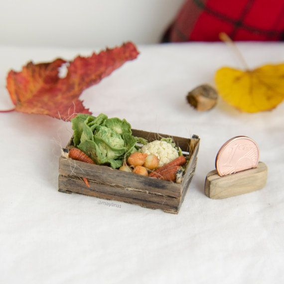 Wooden box with harvest vegetables  cabbage от MayLinaMiniatures