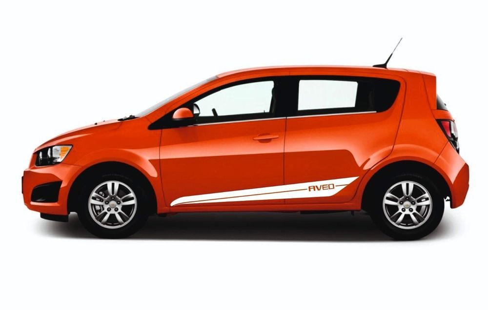 Chevrolet Aveo 2x Side Stripes Graphics Racing Vinyl Body Decals