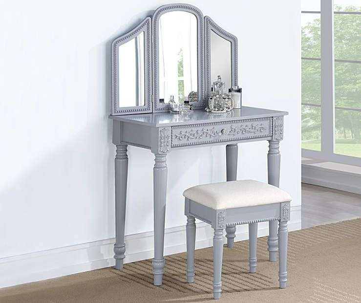 Glam Gray Tri Fold Mirror Vanity With Stool Dressing Table Vanity Vanity Vanity Set