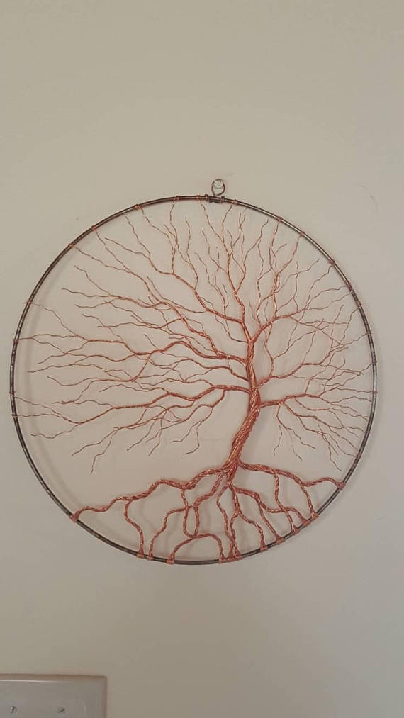 Copper Wire Tree Of Life Wire Art Metal Art Wall Decor Metal Tree Wall Art Metal Tree Wire Art