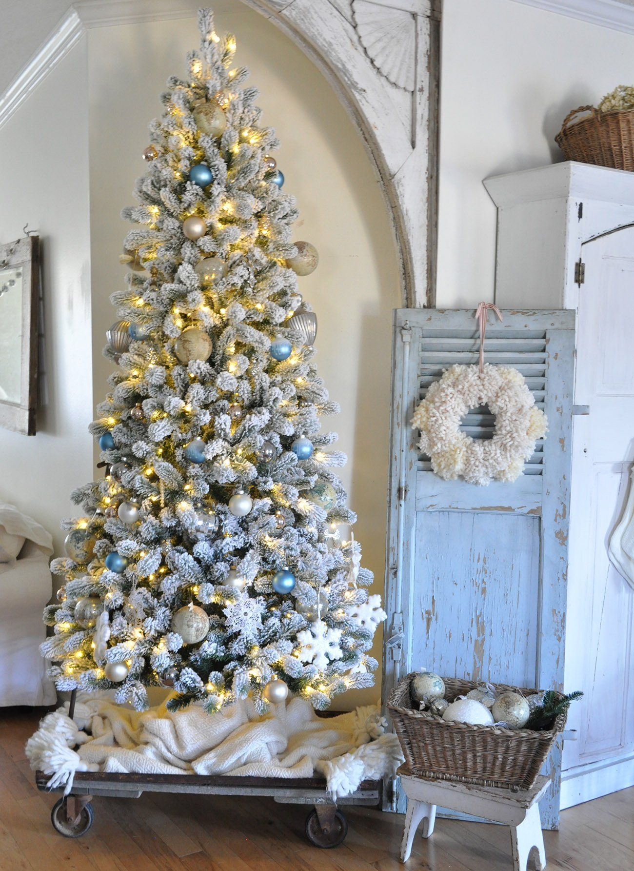 9 Foot King Flock Slim Artificial Christmas Tree 700 Led Lights King Of Christ Blue Christmas Decor Slim Artificial Christmas Trees Artificial Christmas Tree