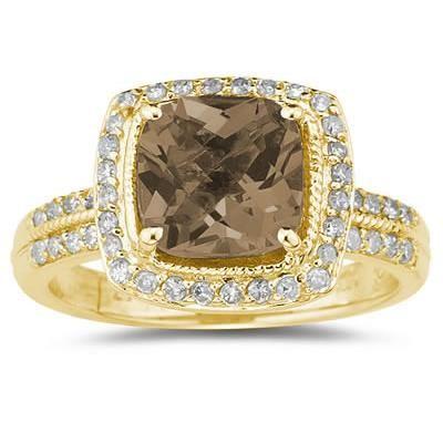 2.50 Carat Cushion Cut Smokey Quartz & Diamond Ring in 14K Yellow Gold
