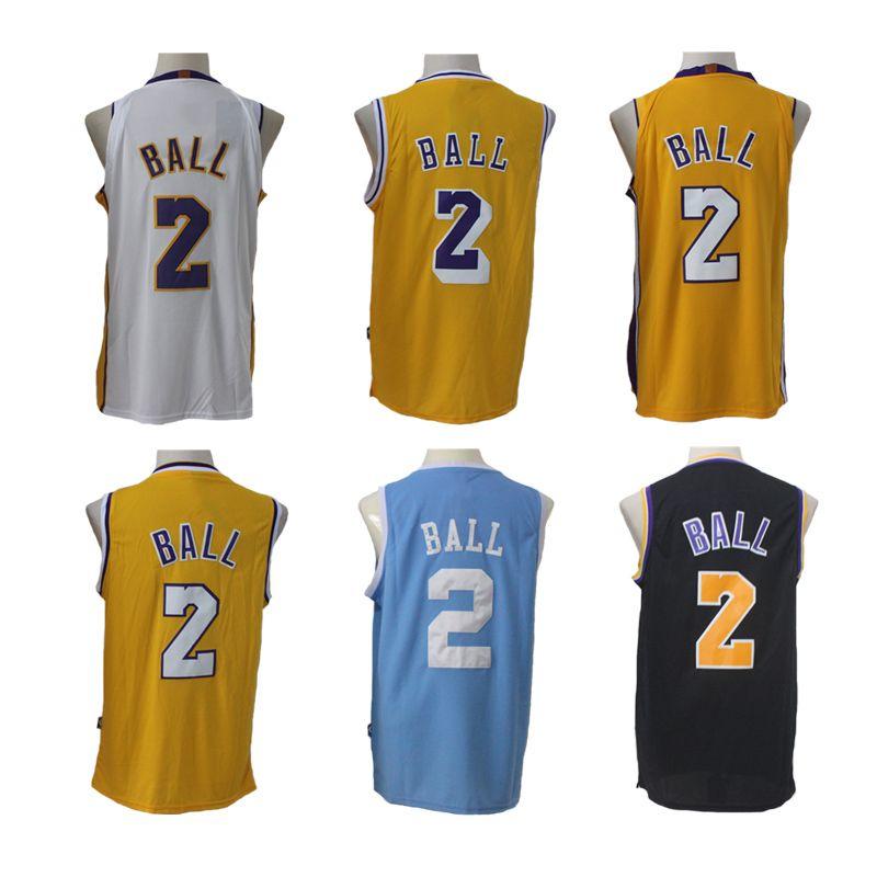 CHEAP NBA New 17-18 Los Angeles Lakers Lonzo Ball Basketball Jerseys White  Yellow Blue ddd9b4ac5