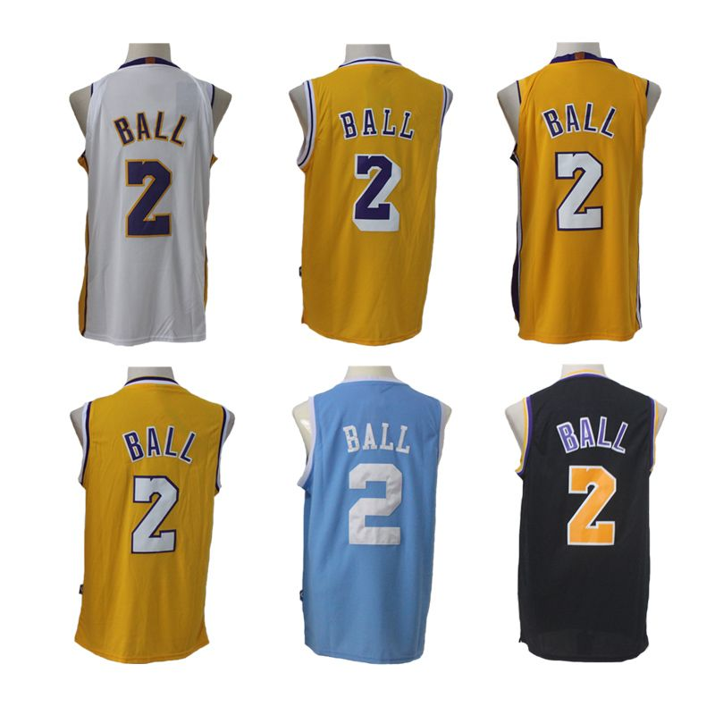 premium selection dfe44 eba35 CHEAP NBA New 17-18 Los Angeles Lakers Lonzo Ball Basketball Jerseys White  Yellow Blue Black Home Away Original Jerseys