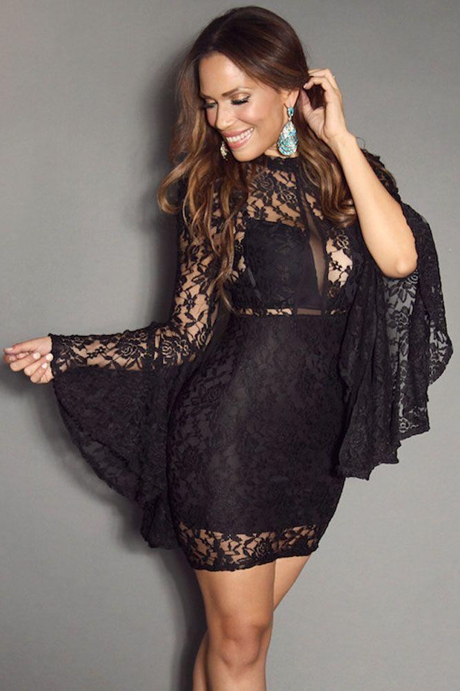 Black wide sleeve dress