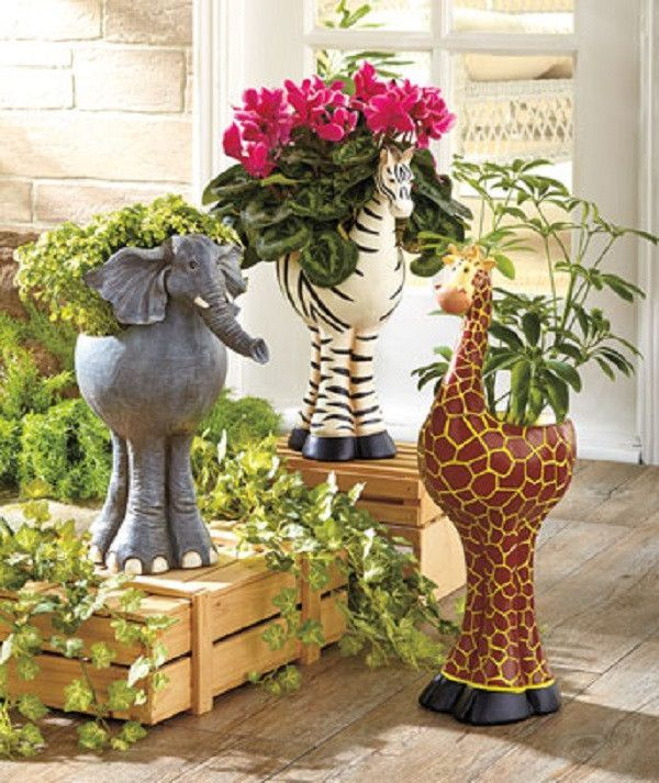 Planters Animal Jungle Safari Zebra Elephant Giraffe Large Indoor Outdoor NEW
