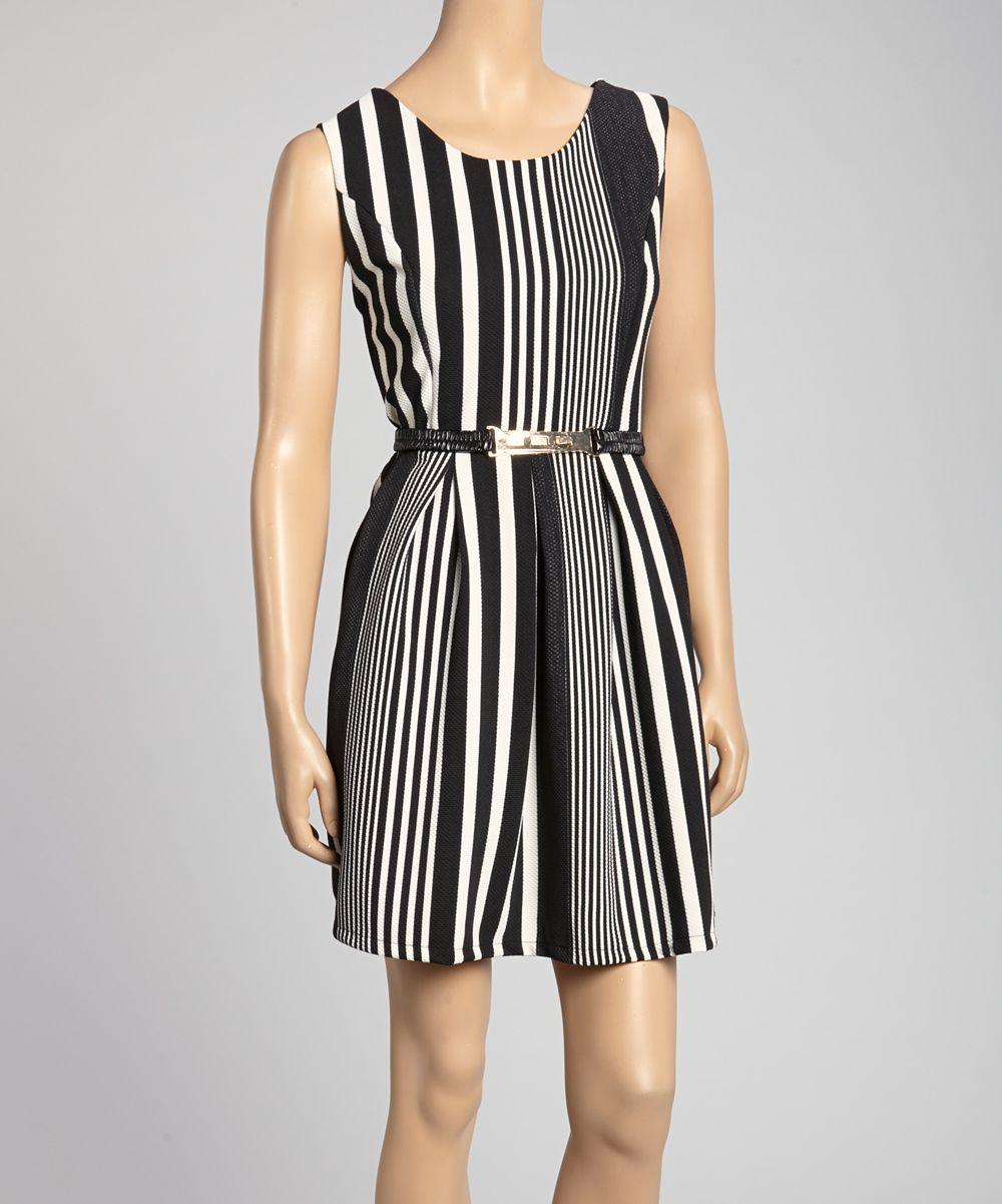 Black white vertical stripe belted aline dress daily