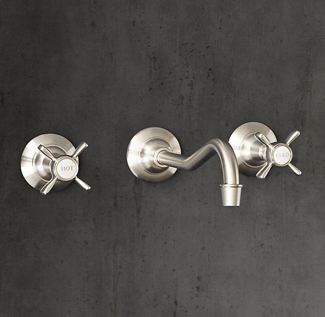 Powder Room Faucet - RH's Vintage Cross-Handle Wall-Mount Faucet:Baronial in stature, our Vintage collection celebrates form as well as function.
