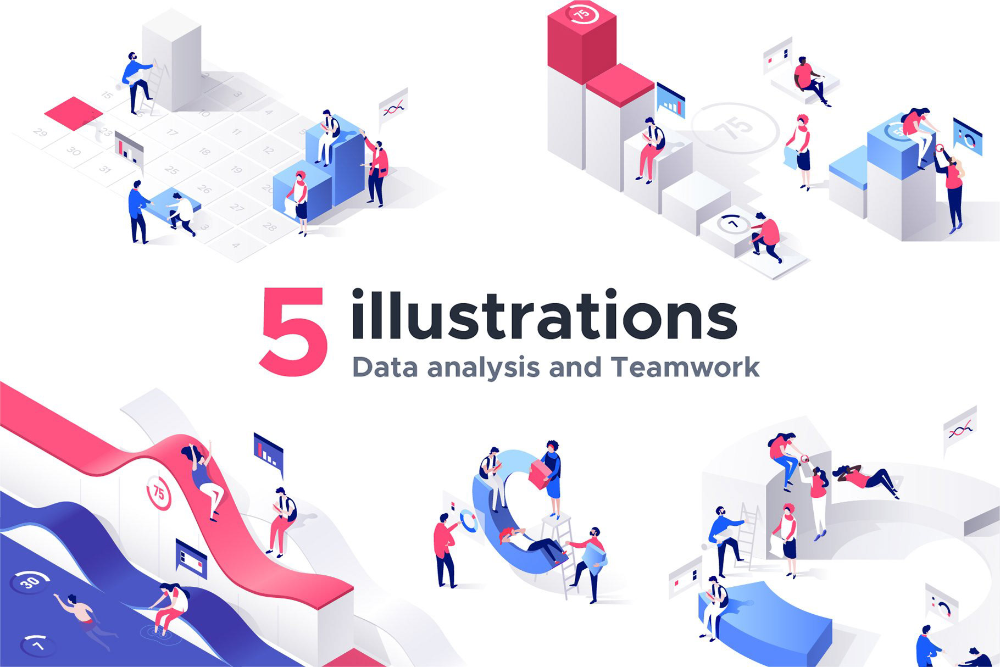 Charts Collection 5 Illustrations By Dmit Shop On Behance In 2020 Isometric Illustration Illustration Business Illustration