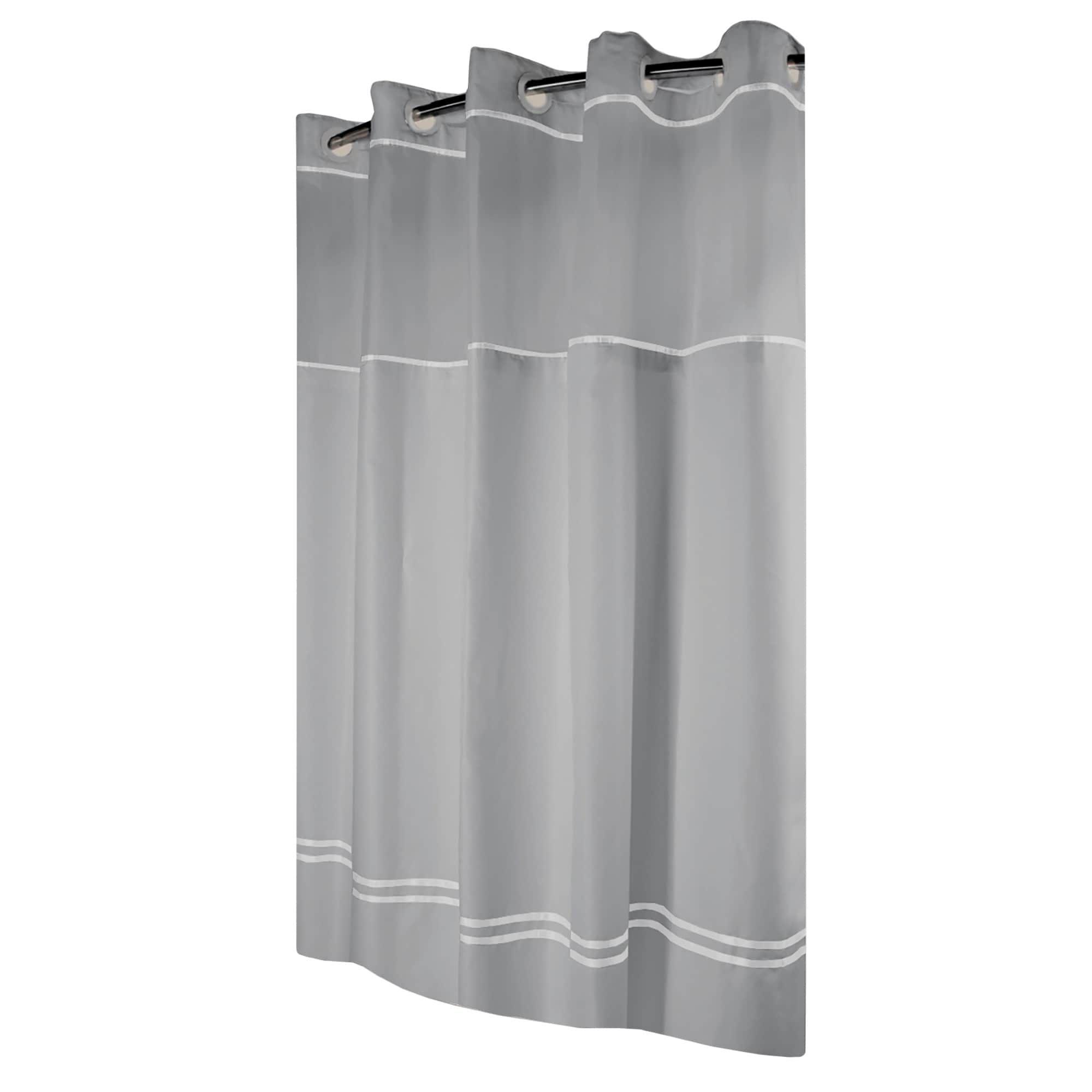 Hookless Shower Curtain Monterey Gray White White Plastic