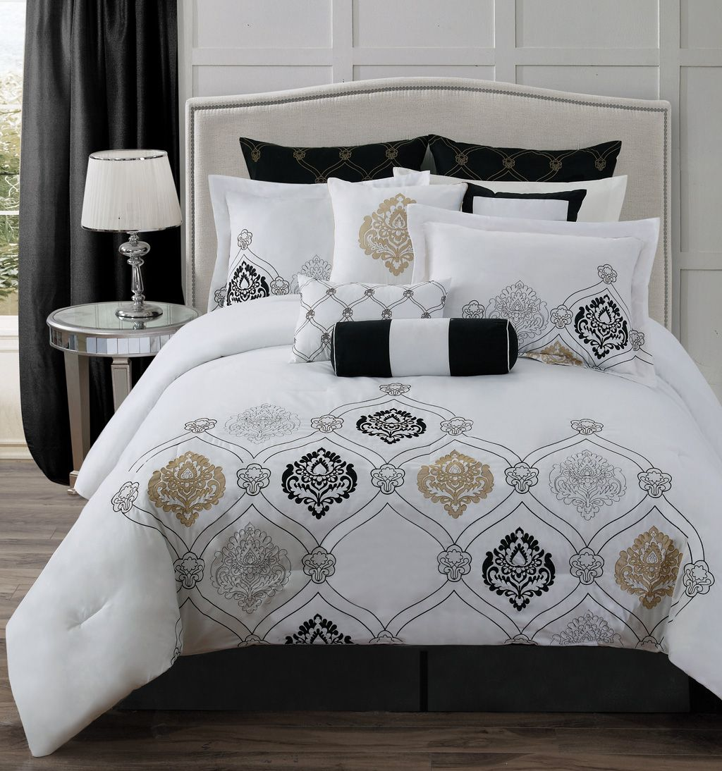 Classy Bed Sheet And Comforter Set With Black Euro Sham Cover With Gold Geometric Pattern And White Flanged Standa Gold Bedding Sets Bed Linens Luxury Gold Bed