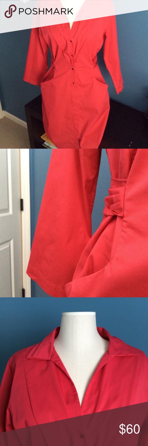 Elie tahari red length sleeve shirt dress elie tahari true
