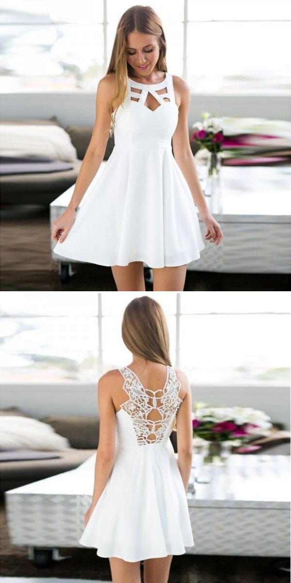 c0f1ccecc32aa Simple Cheap A-Line White Short Beautiful Homecoming Dresses For Teen