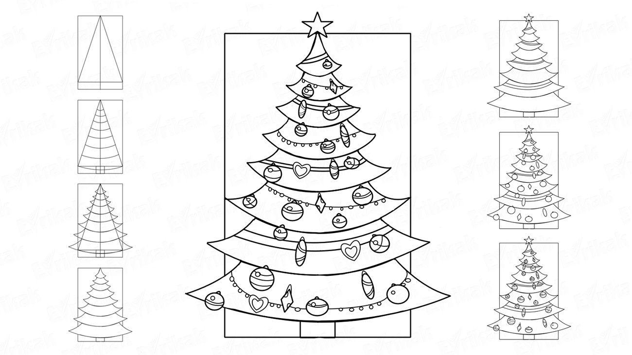 Открытка днем, как нарисовать открытку на новый год поэтапно