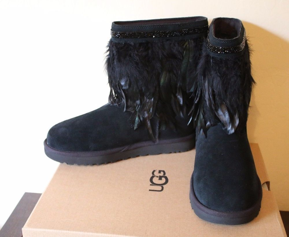 2cf5f8625dc UGG Australia Classic Short Peacock Feather Black Women's Boots Size ...