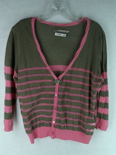 MISS SIXTY brown pink stripe light weight 3/4 sleeve cardigan ...
