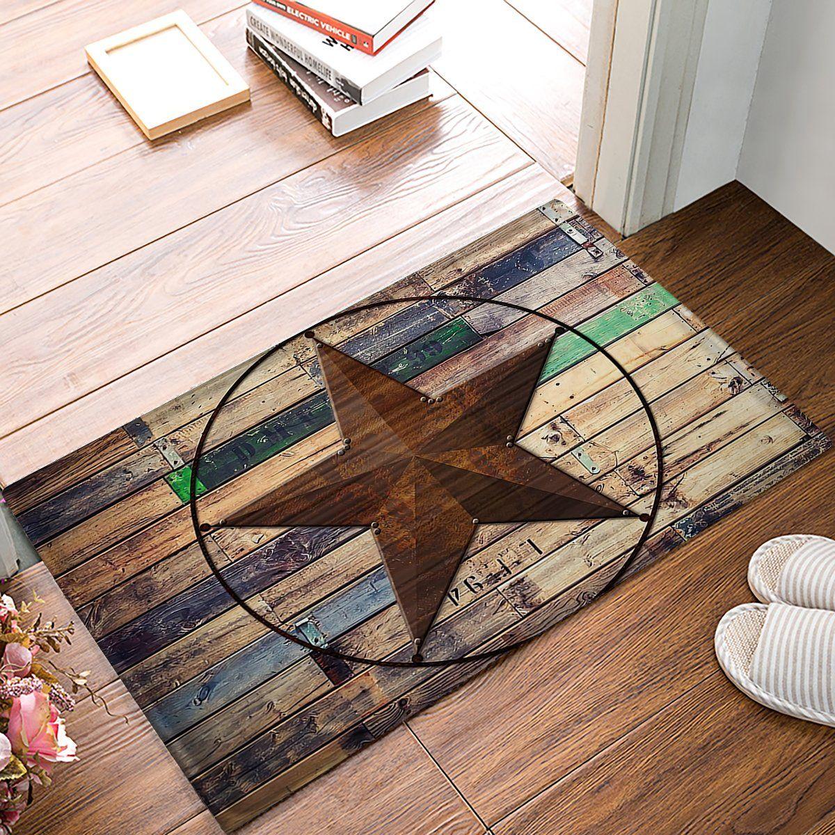 Rustic Vintage Texas Star Barn Wooden Doormat Door Mat Rug Outdoor Indoor For Home Office Bedroom Click Image For More D Texas Star Decor Door Mat Mat Rugs