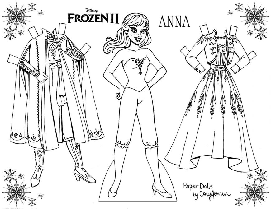 Frozen 2 Coloring Paper Dolls Of Elsa And Anna Princess Paper Dolls Free Printable Paper Dolls Frozen Paper Dolls
