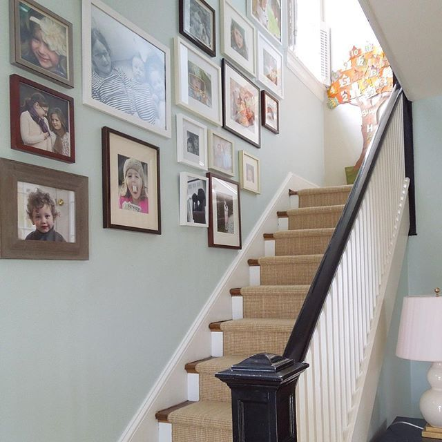 My client's foyer with a new custom staircase wool runner. Love her gallery wall of photos in frames by @potterybarn and Thanksgiving Countdown Calendar by @potterybarnkids  The kids write a note of gratitude each day leading up to Thanksgiving :) #grateful #foyer #toneontoneantiques #mypotterybarn