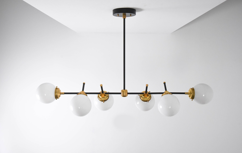 Austin Chandelier Black Brass Mid Century Industrial Modern Candelabra 6 Light Globe Chandelier Gold Hanging Lights Modern Lighting Chandeliers