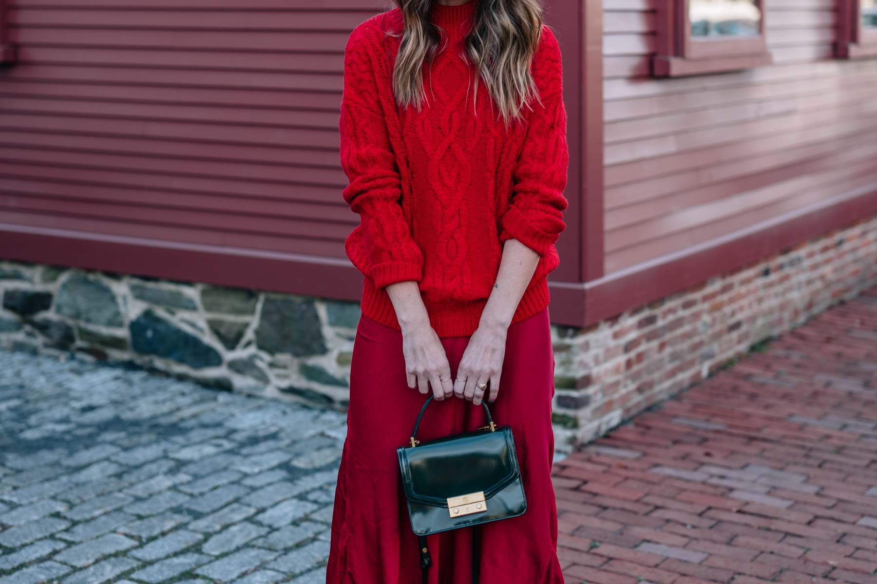 44be7e8cd36151 Jess Ann Kirby shares how to wear red on red this holiday season with  sparkle ankle boots and the tory burch mini Juliette bag