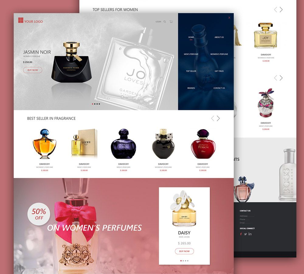 Nice eCommerce Perfume Shop Free PSD Template  Download