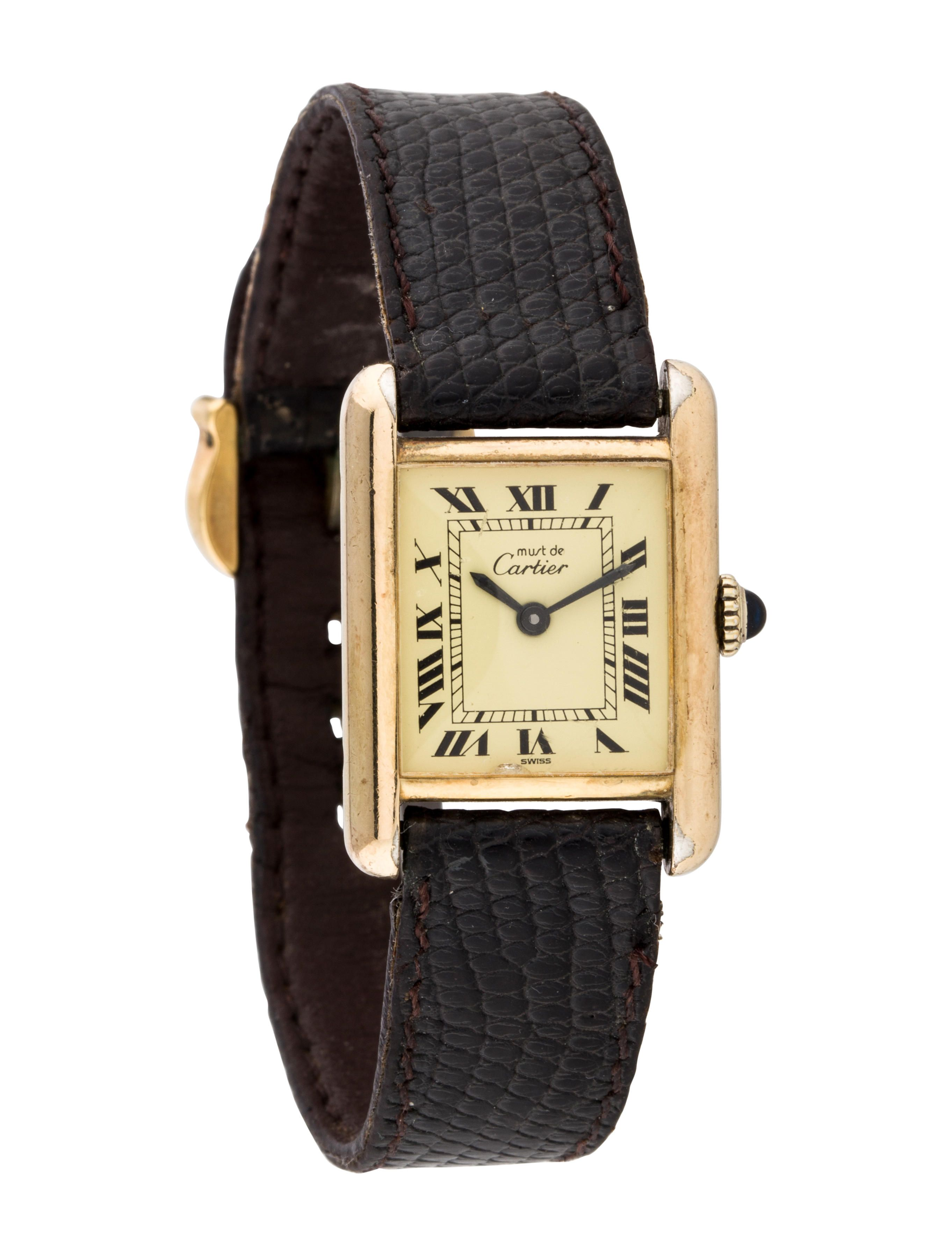 Must De Cartier Watch Must De Cartier Watch Tank Watch Black Leather Strap