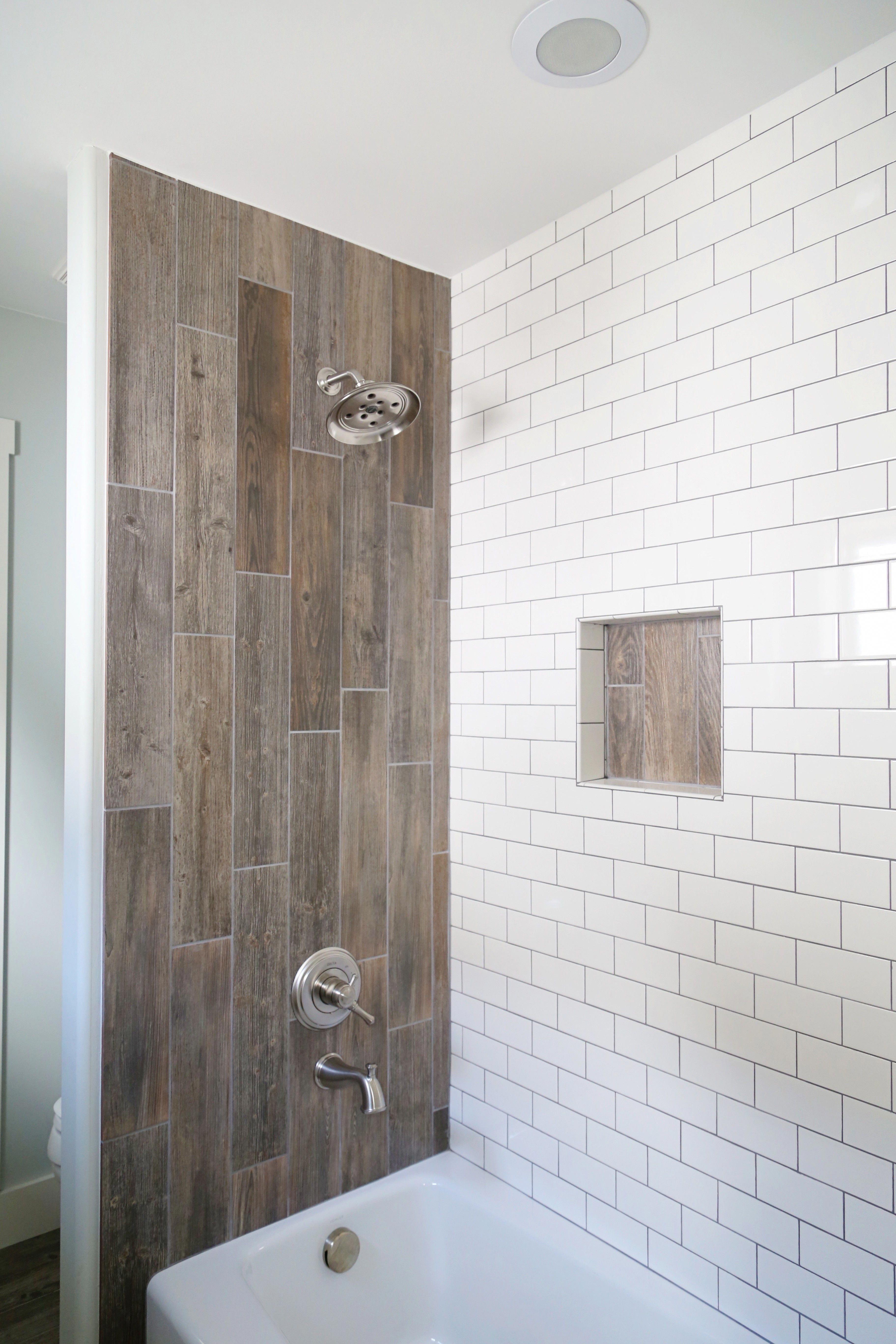 Jack And Jill Bathroom Renovation Using Yellow Duk For Easy Shower Wall Insert Wood Grain Meets Tilin Wood Tile Shower Farmhouse Shower Bathroom Shower Tile