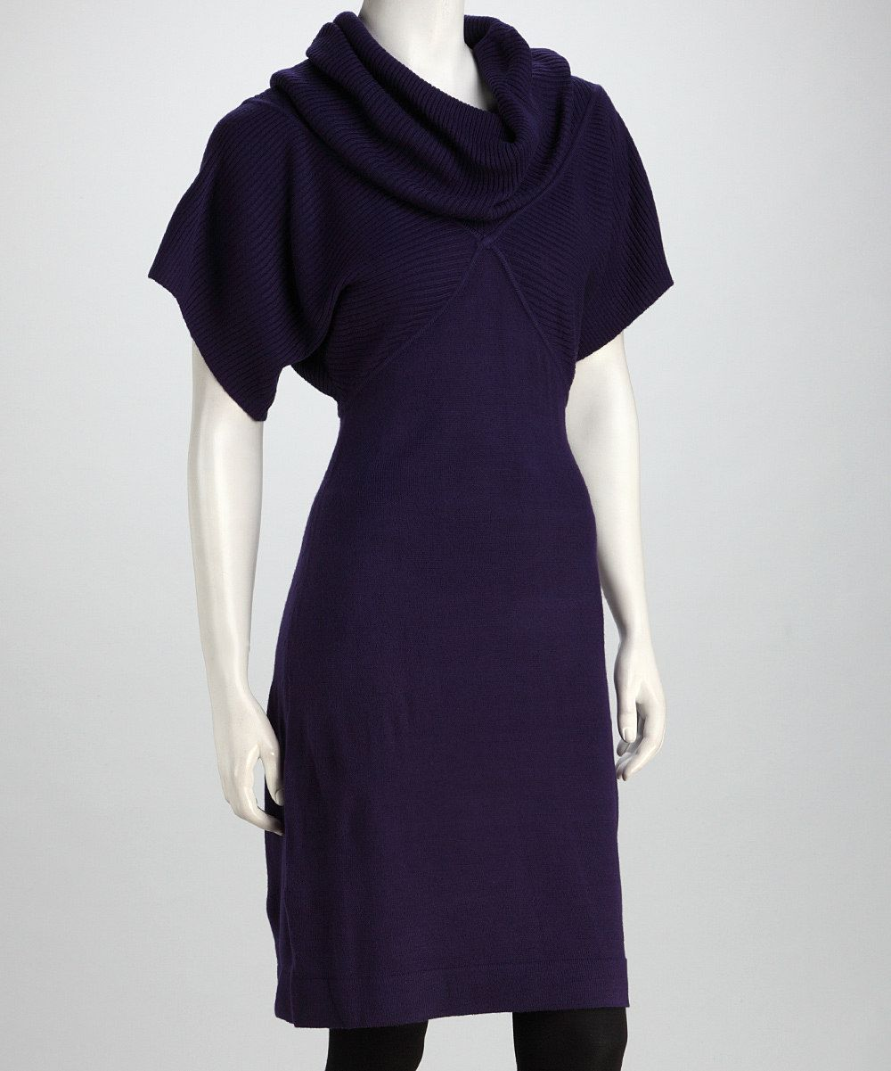 Purple Cowl Neck Dolman Sweater Dress add to my favorites Sandra ...