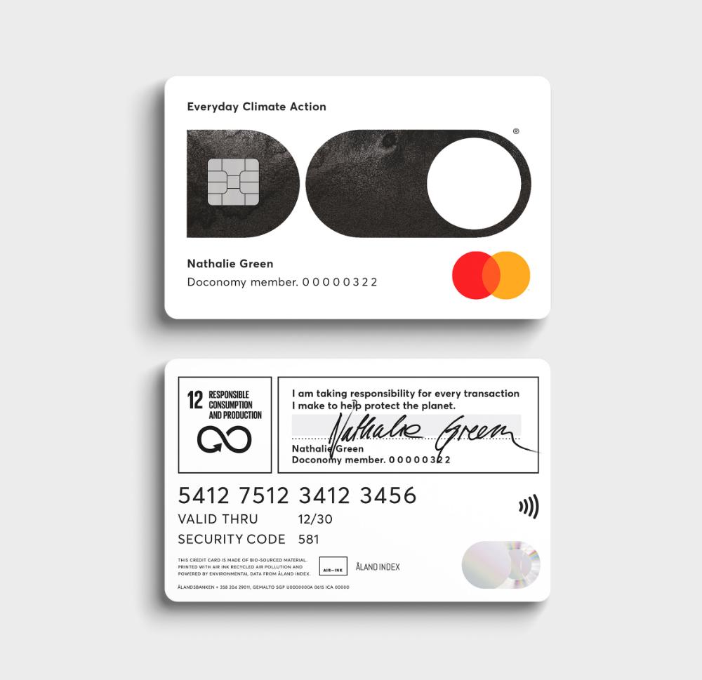 Doconomy Launches Credit Card With A Carbon Emission Spending Limit Credit Card Design Debit Card Design Credit Card Art