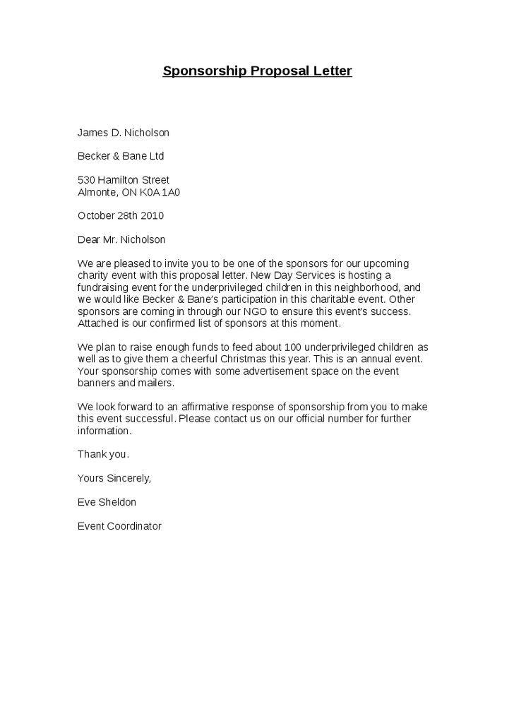 a letter soliciting sponsorship for an event by proposing company  the letter contents provide