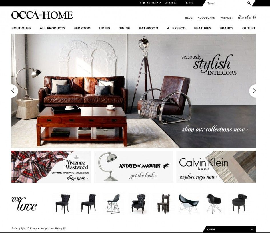 decoration modern furniture website front page screen grab