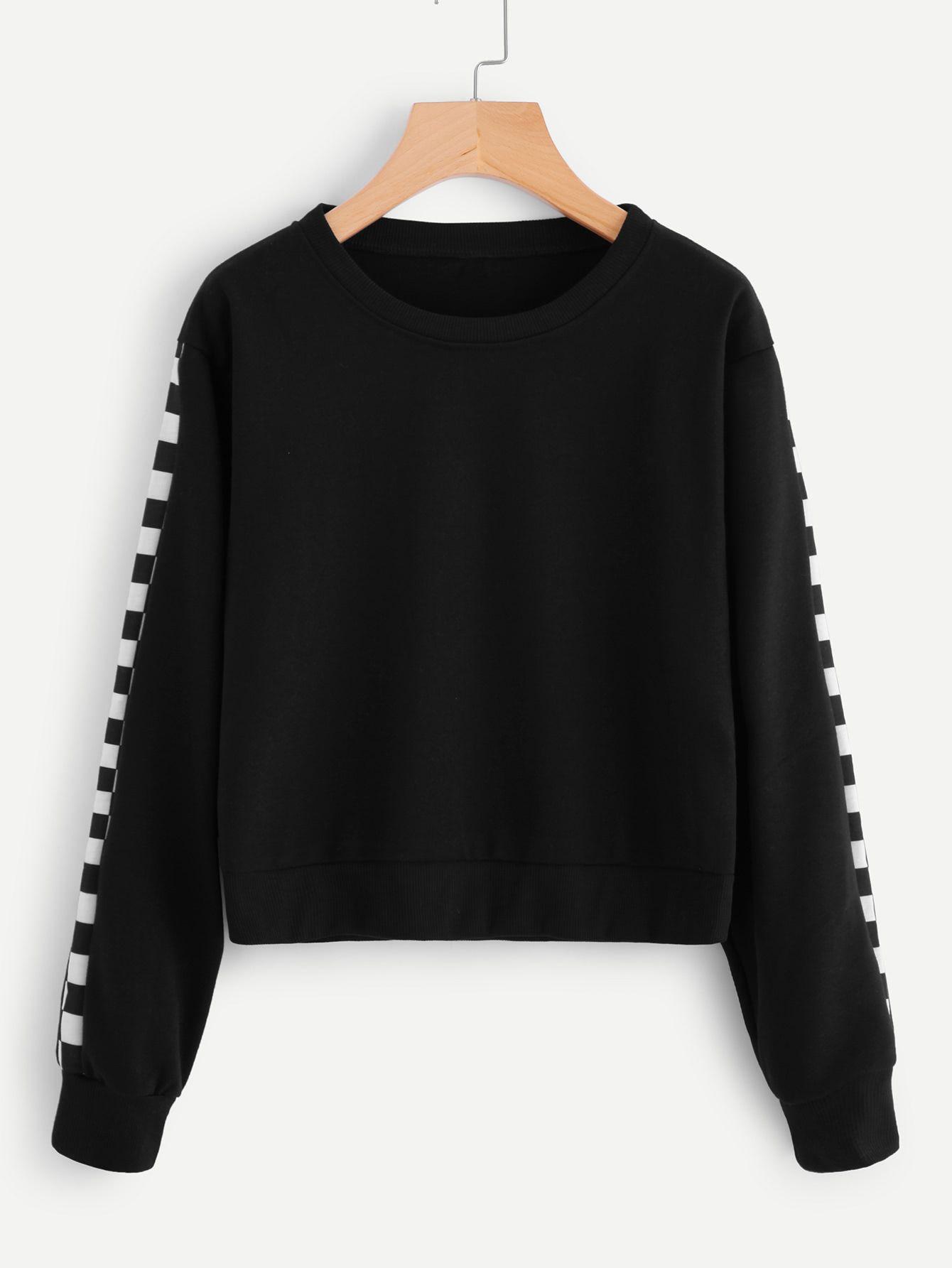 Contrast Checked Sleeve SweatshirtFor Women-romwe