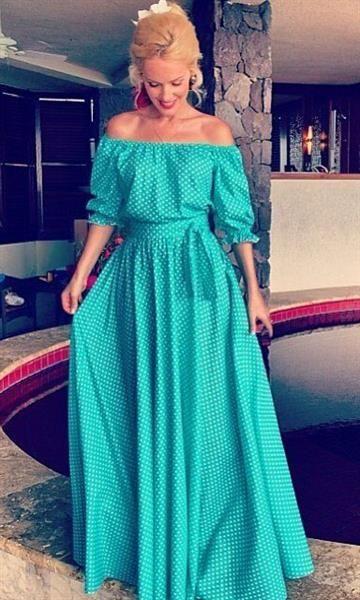 4aced5e5abb Длинное летнее платье крестьянка