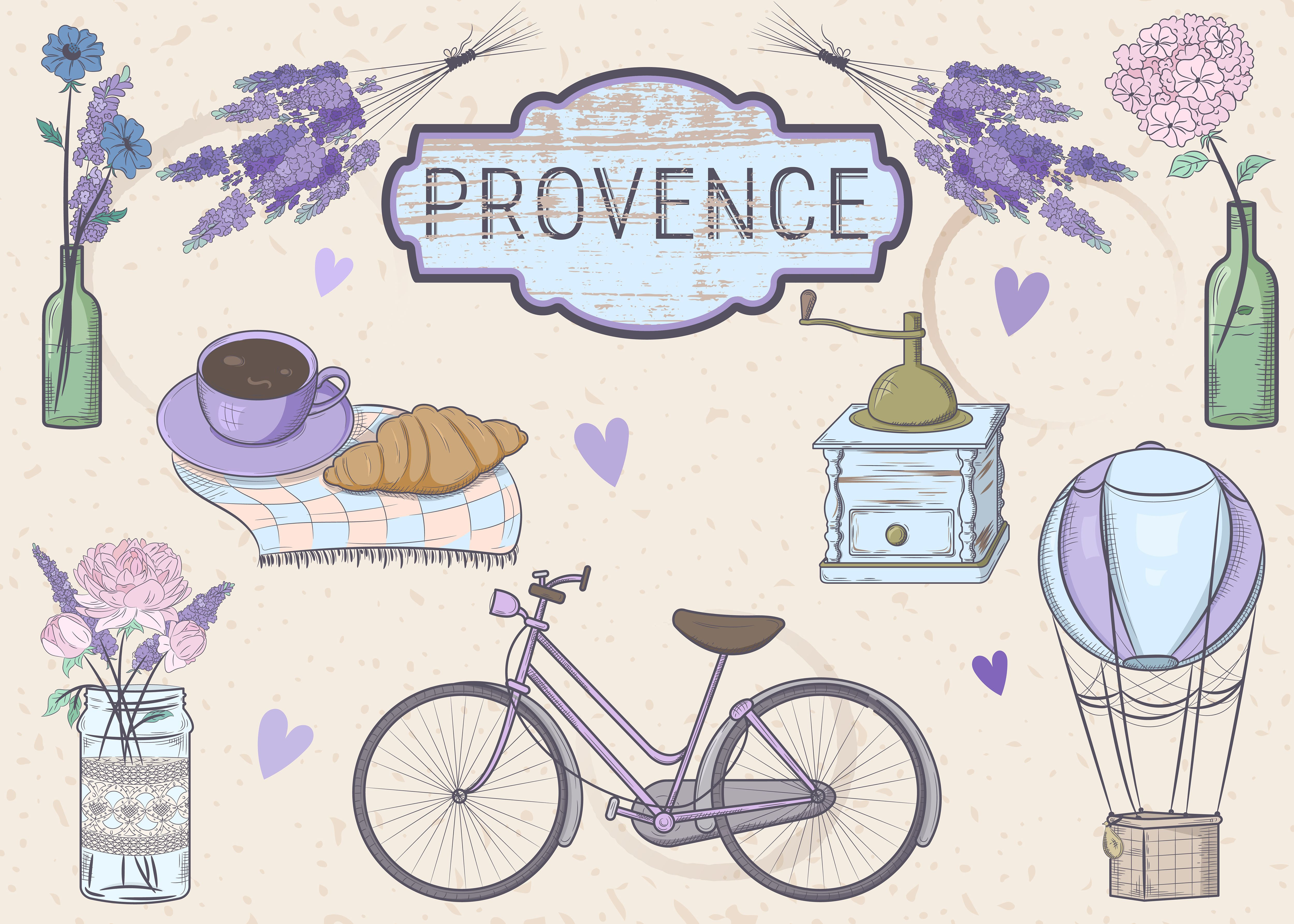 Vector set in a style of Provence. I dream of ever having a vacation in the village of France