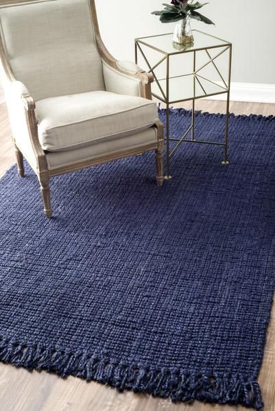 Nuloom Jute Hand Woven Chunky Loop Nccl01d Navy Blue Area Rug In